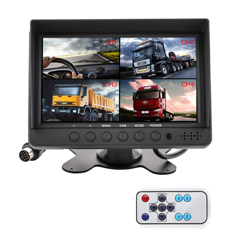 MiCarBa 7 pollici Auto Quad Video LCD Monitor per auto, kit di retromarcia per auto CCTV Sicurezza Monitor per auto Poggiatesta Monitor per telecamera Monitor AV Ingresso SANCHE ELEC