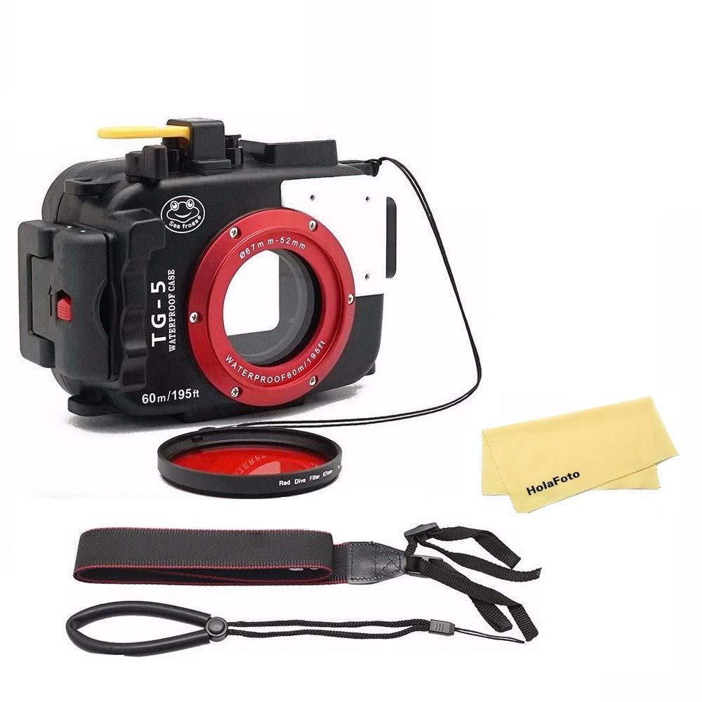 SeaFrogs Waterproof Underwater Camera Case for Olympus TG5 with 67mm Red Filter Combo, Applied to 60m/195ft