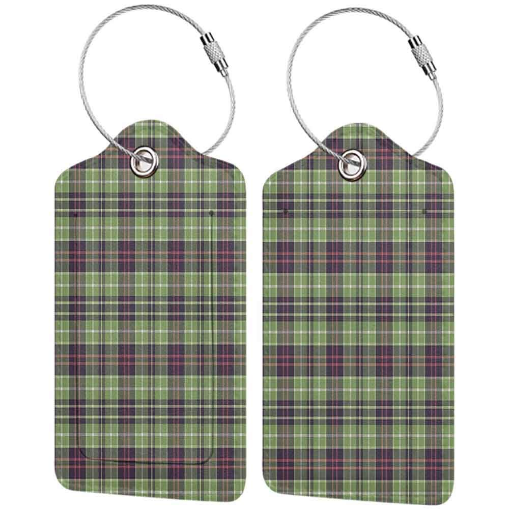 Personalized luggage tag Retro Scottish Plaid Pattern Classical Checkered Striped Design Traditional Geometric Tile Easy to carry Multicolor W2.7 x L4.6