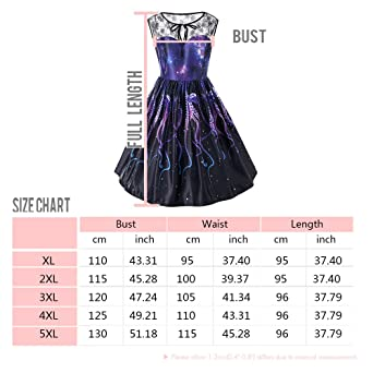 cbd1127aa1d RoseGal Lace Panel Plus Size Dress Starry Galaxy Print Swing Skirt A line  Dress for Women  Amazon.co.uk  Clothing