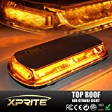 Xprite 44 LED High Intensity Law Enforcement Emergency Hazard Warning Flashing Car Truck Construction Top Roof Mini Bar Strobe Light with Magnetic Base, Amber/Yellow