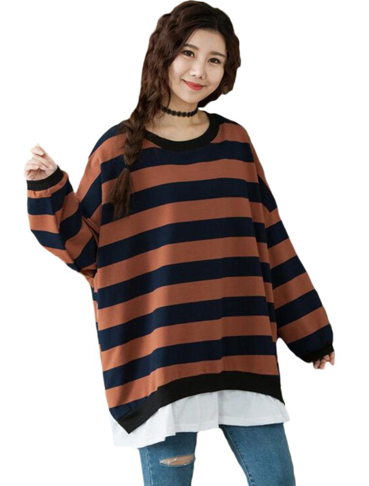 Mordenmiss Women's Casual Color Stripe Blouse Loose Sweatshirt XL Style 1-Brown