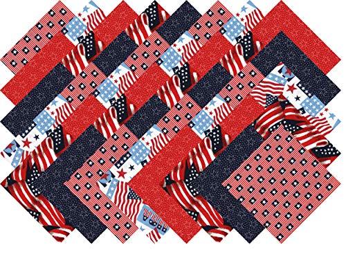 [해외]애국 미국 국기 매력 팩 40 프리 컷 5 \\ / Patriotic USA Flag Charm Pack 40 Precut 5 Quilting Fabric Squares \u2026