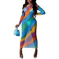 RAMOUG Women Sexy See Through Colorful Cover Up Dresses Sheer Mesh Bodycon Long Dress