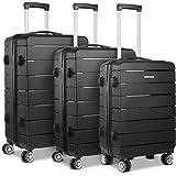Wanderlite 3 Pcs Luggage Set 100% Polypropylene Hard Shell Suitcase Set with Dual Wheels, Black