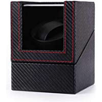 Automatic Single Watch Winder, Dust-Proof Mechanical Watch Winding Box, Leather Watch Box Quiet Motor Shaker Holder Display Case, Battery Or AC Adapter Powered