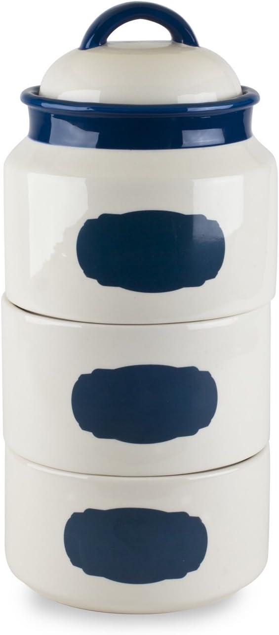 Amazon Com Mr Food Test Kitchen Blue Stackable Canister Set W Chalkboard Kitchen Dining