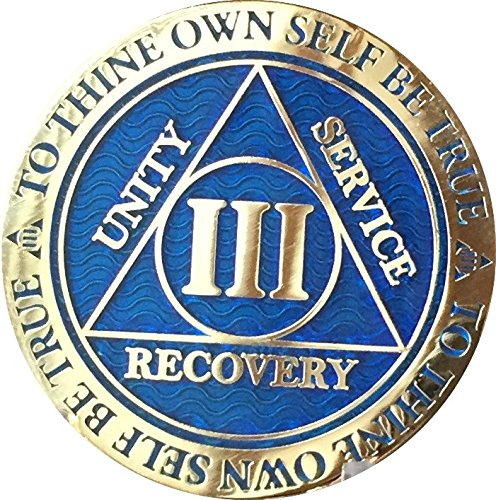 Recoverychip 3 Year Reflex Blue Gold Plated AA Medallion Alcoholics Anonymous Sobriety Chip