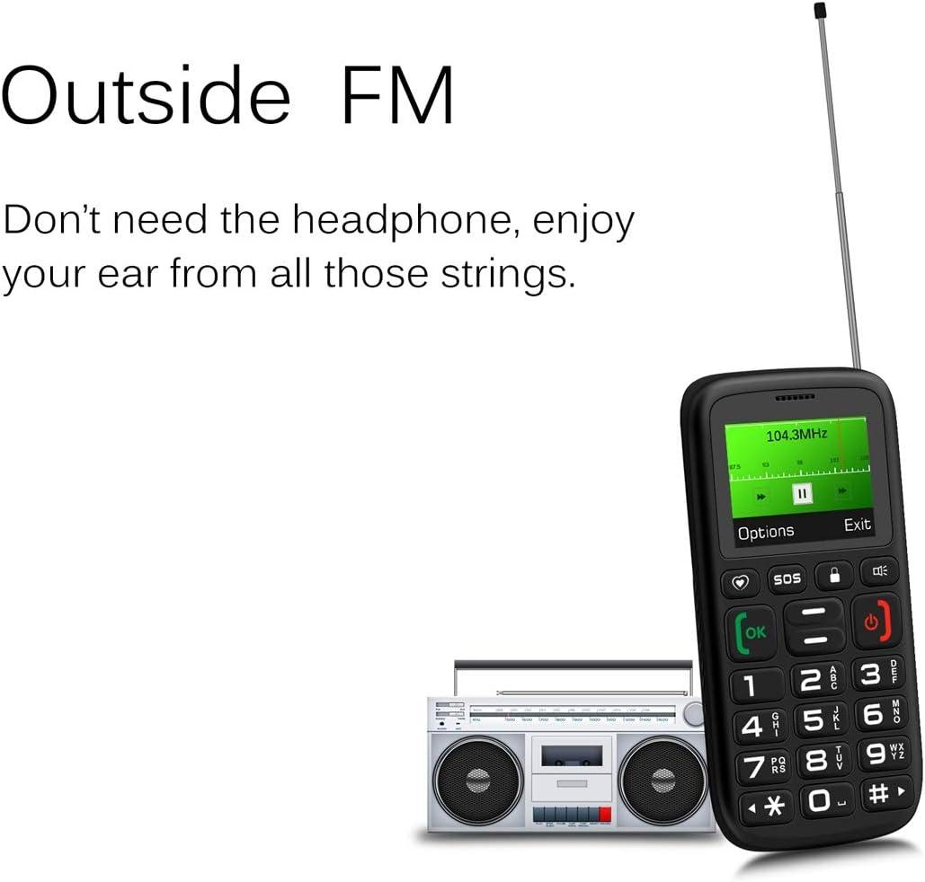 SOS FM 1.77 inch Screen Bluetooth SpreadTrum SC6531 English Keyboard 1000mAh Battery Color : Red Torch Key Lock Dual SIM
