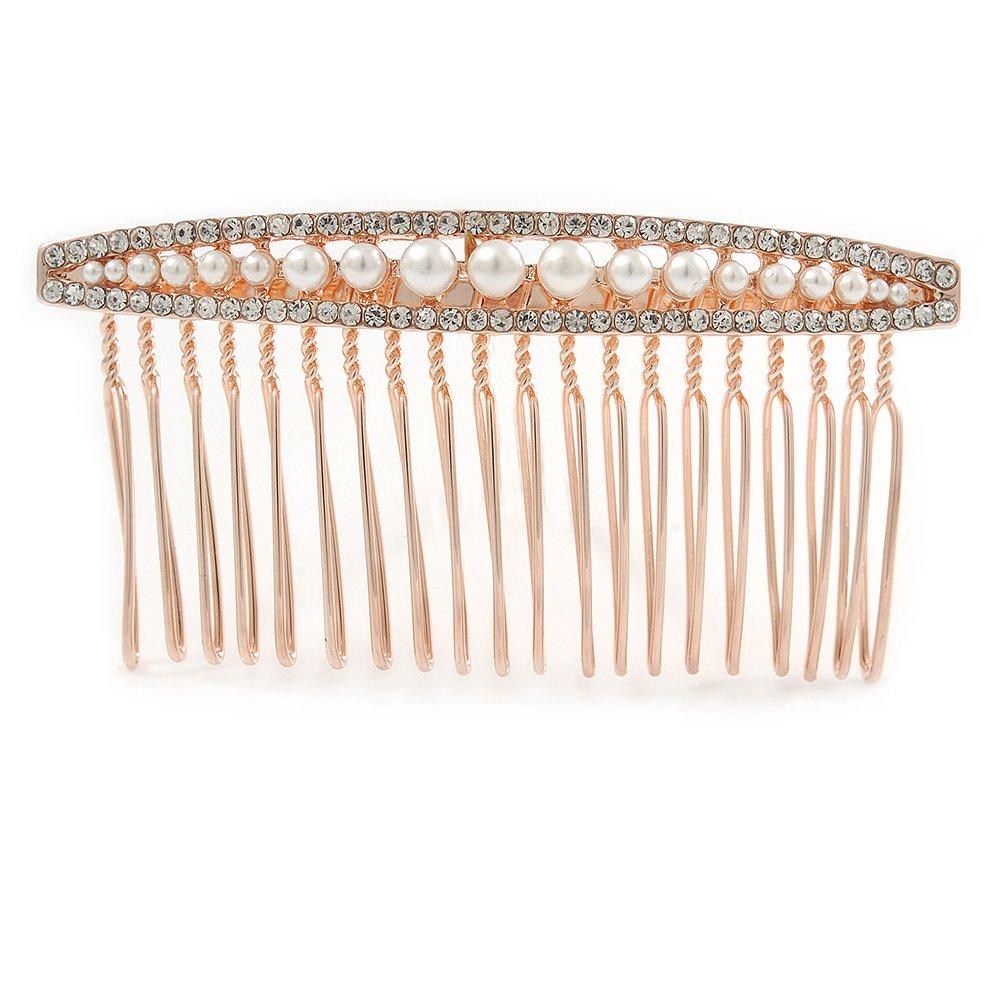 sposa/matrimonio//PARTE dorato rosa cristallo austriaco Pearl Side Hair Comb–80mm Avalaya