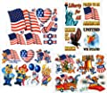 Patriotic July 4th Window Clings Decals Kit