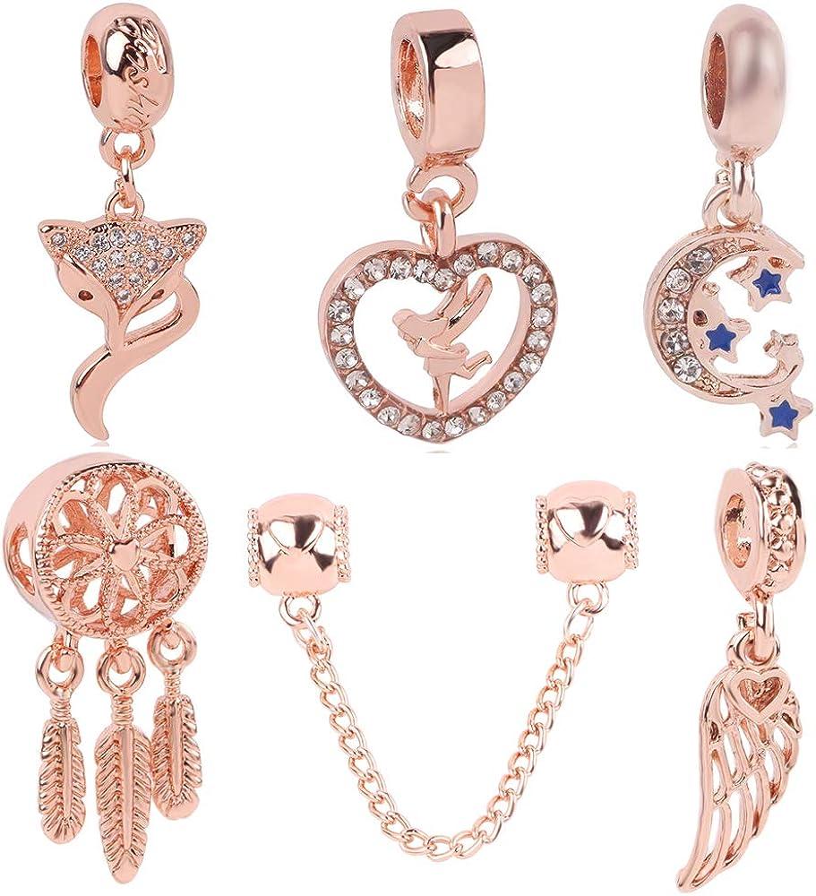XXKA Glamour Bracciale Gioielli da donna Lusso Cuore vuoto Angelo Volpe Fiore Topolino Ciondolo in oro rosa///K227