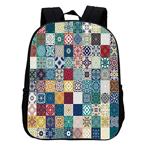 (Moroccan Fashion Kindergarten Shoulder Bag,Patchwork Pattern with Different Colorful Arabic Figures Original Tunisian Artful For Hiking,One_Size )