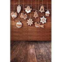 Christmas Wood Background 5X7FT Laeacco Vinyl Thin Photography Backdrop Candy House Cookies Pendants Wall Background Personal Portraits Photo Studio Props 1.5x2.2M