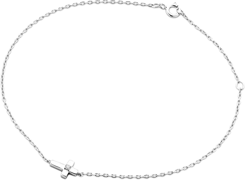 Miore - Pulsera para mujer de oro blanco de 9 quilates y oro 375 con diamante, 18 cm de longitud