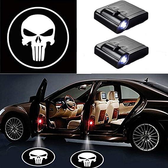 Imagen deMIVISO Proyectores LED para coches, Luz de logotipo de calavera de bienvenida de 2 piezas, Sensor magnético inalámbrico universal Luz de logotipo de sombra