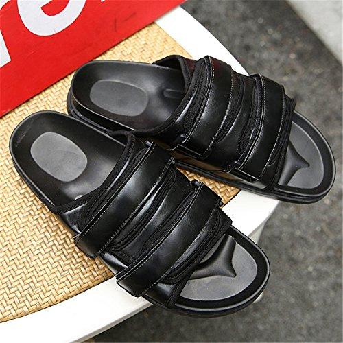 Leather Scarpe 3 Shoes Pantofole Pantofole spiaggia Nero Uomo 40 EU Casual Dimensione 2 Antiscivolo Outdoor da Da pantofole Wagsiyi Colore Nero Traspiranti fqwPYBH