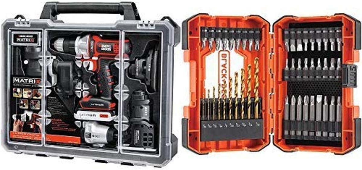 BLACK+DECKER BDCDMT1206KITC Matrix 6 Tool Combo Kit with Case with BLACK+DECKER BDA46SDDD 46-Piece Screwdriver & Drill Bits Set
