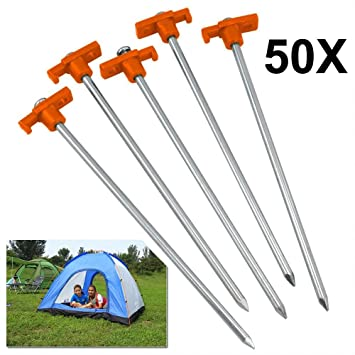 50X Heavy Duty Tent Pegs Hard Ground Rock Pegs Camping Tent Awning Metal UR