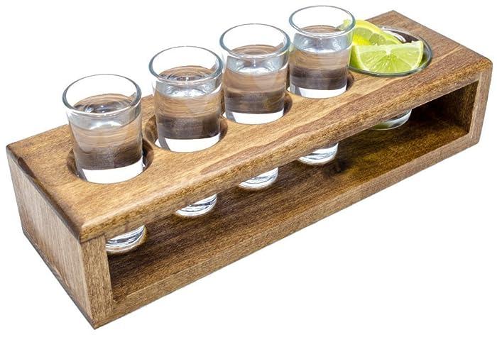 Handmade Wooden Shot Glass Set In Serving Tray, Includes 4 Shot Glasses U0026  Garnish Dish