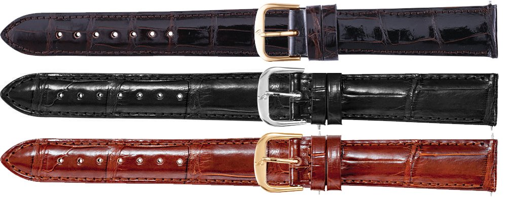 Men's 20 mm Regular Brown Genuine Louisiana Alligator Padded Watch Strap by US Jewels And Gems (Image #2)