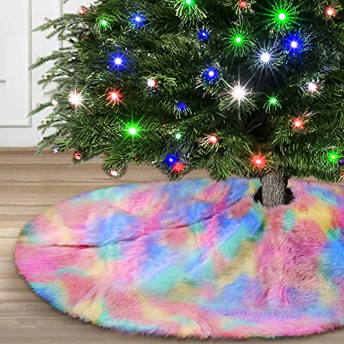 """yuboo Rainbow Kids Mat, 50"""" Faux Fur Pink and Purple Tree Skirt for Entertainment Party"""