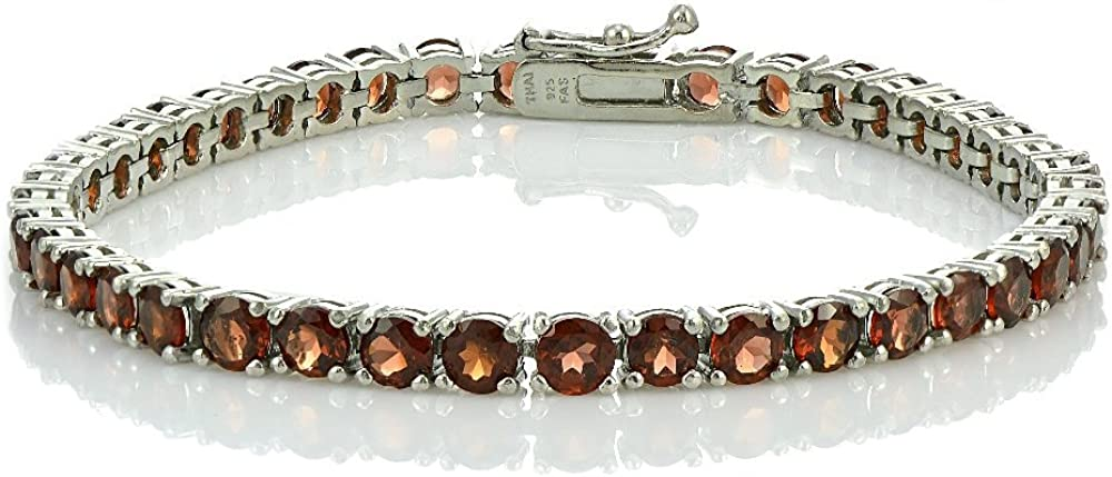 Ice Gems Sterling Silver Genuine or Created Gemstone 4mm Round Tennis Bracelet