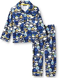 Joe Boxer Toddler Boys Blue Flannel Sleepwear Set Skull Pajamas PJs