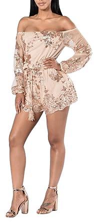 7f2e954eff Women Off Shoulder Long Sleeve Sequins Short Pants Jumpsuit Romper without  Belt Rose Gold Small