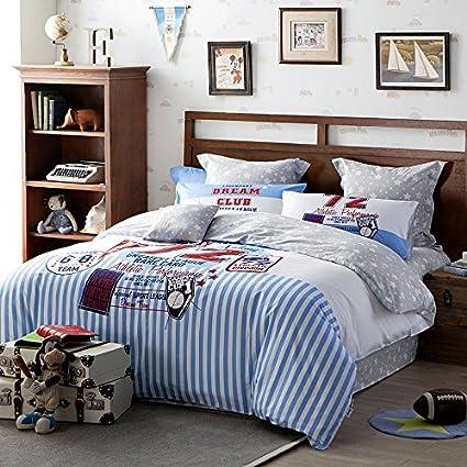 lelva sports style bedding set for kids duvet cover set with flat sheet full teens baseball - Baseball Bedding