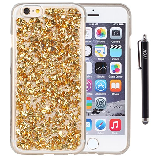iPhone 6S Case, iYCK Luxury Bling Glitter Sparkle [Gold Foil Embedded] Transparent Flexible Soft Rubber Gel TPU Protective Shell Hybrid Bumper Case Cover for Apple iPhone 6/6S 4.7inch - (Apple Iphone Clear Shell Cover)