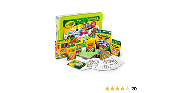 Amazon Com Crayola Super Art Coloring Kit Green Or Yellow Toys Games
