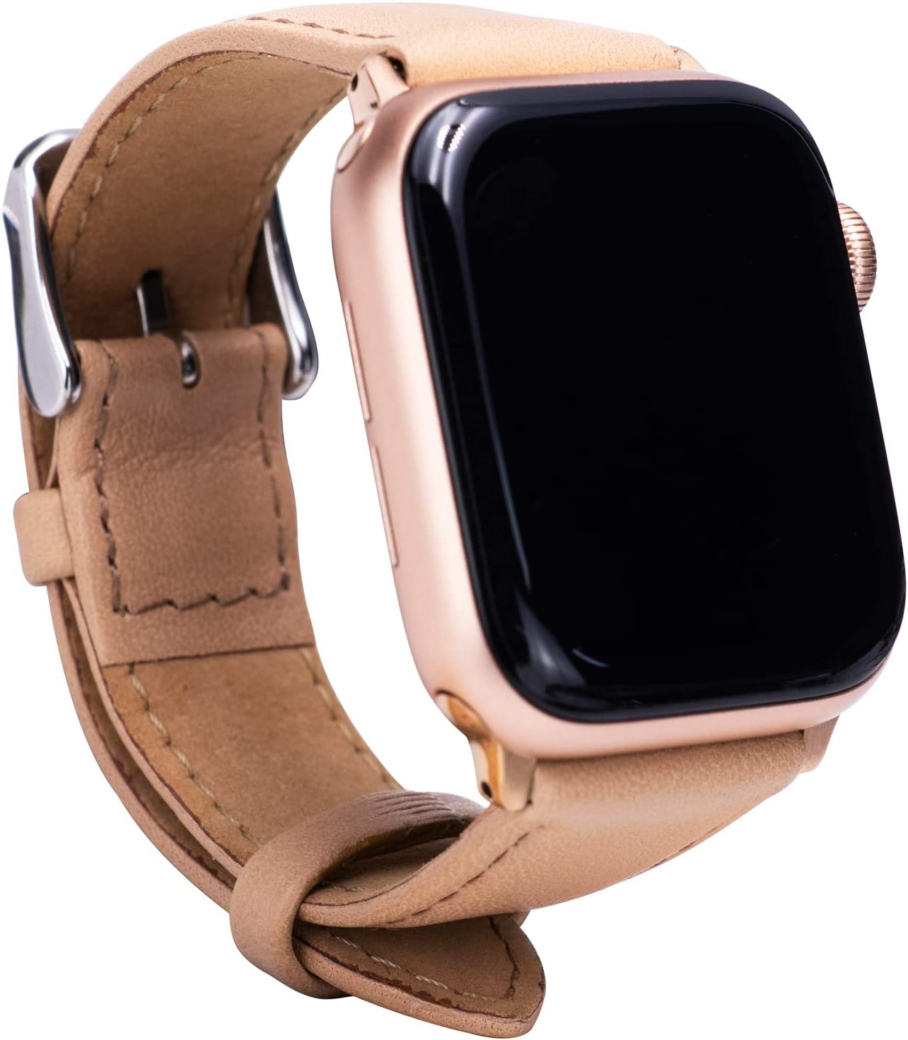 Leather Bands Compatible with Apple Watch 38mm 40mm Top Grain Leather Wristband Khaki Leather Vintage Strap with Rose Gold Buckle iWatch Series 6/5/4/3/2/1