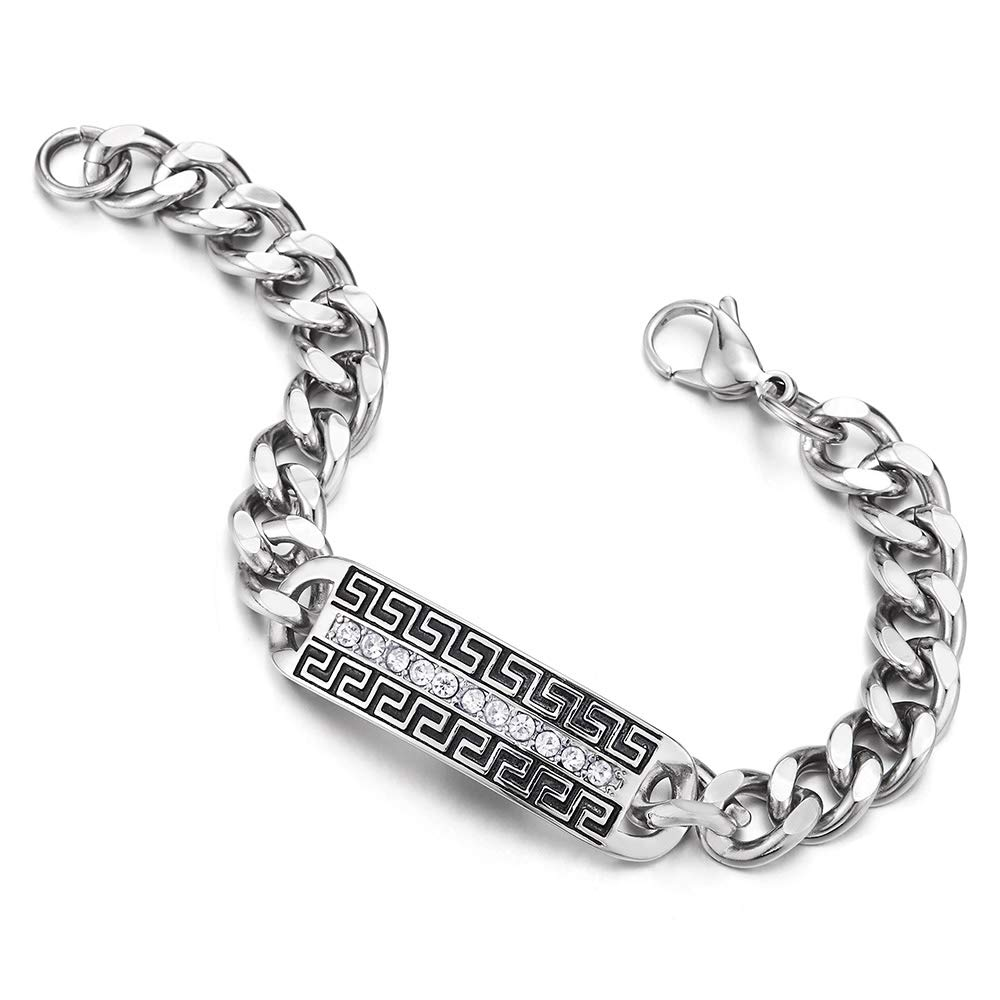Greek Key and Cubic Zirconia COOLSTEELANDBEYOND Mens Steel Curb Chain Bracelet ID Identification with Black Enamel