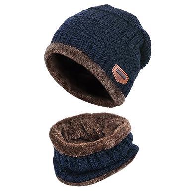 8b13d22427e6 Thenice Enfant Bonnet Echarpe Garçon Fille Hiver Chapeau Chaud Tour de Cou  (Bleu Marine)