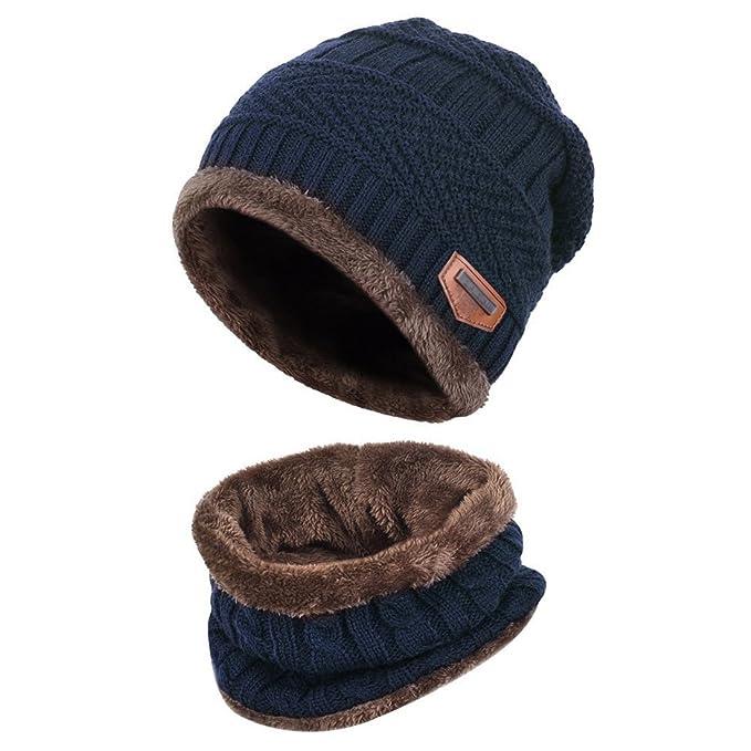 Kuyou Cappello Bambino Invernale Unisex Berretto in Maglia con sciarpa  (Bleu Marine) 35e536648d99