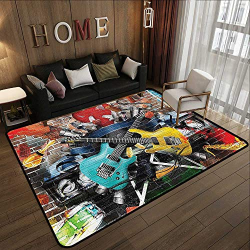 (Large Classical Carpet,Music Decor,Collage of Music,Color and Musical Instruments Street Wall Art Joy Nostalgia 71