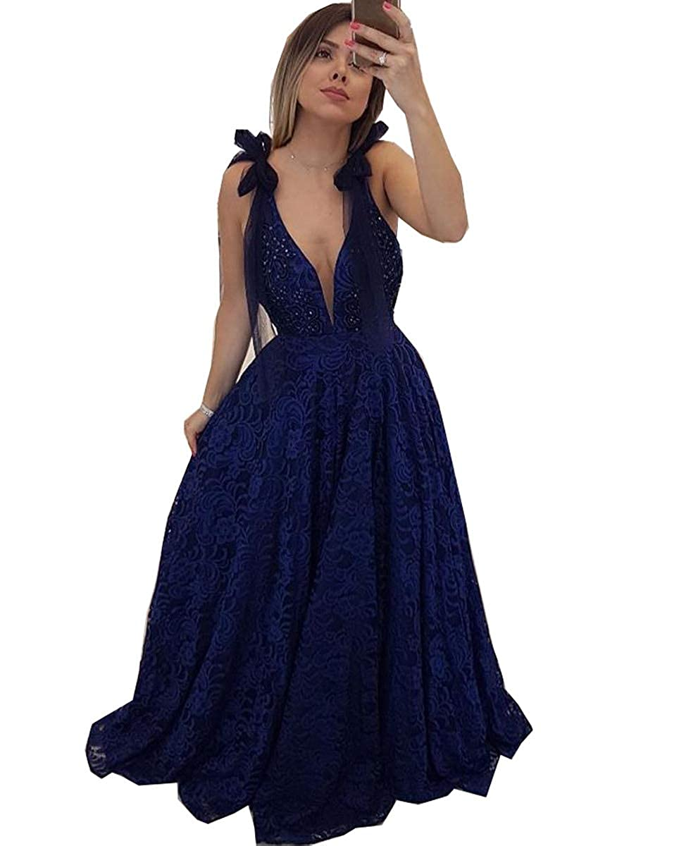 Navy bluee MariRobe Women's Lace Appqiue Beaded Prom Gowns Deep Veck Evening Dresses Formal Gowns