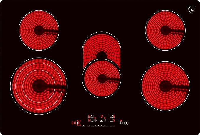 K & H® - Placa de vitrocerámica de 5 zonas de cocción, 77 cm ...