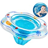 Inflatable Baby Swimming Ring, Baby Swim Ring Float with Seat for Kids Paddling Pool for Infant Toddler Swimming Aid Training, Baby Swimming Ring Float with PVC for Baby from 6 to 36 Months Blue