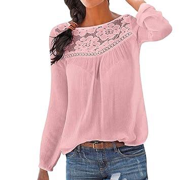 de4eefe33181a Amazon.com: lotus.flower Women Casual Long sleeve Lace Patchwork ...