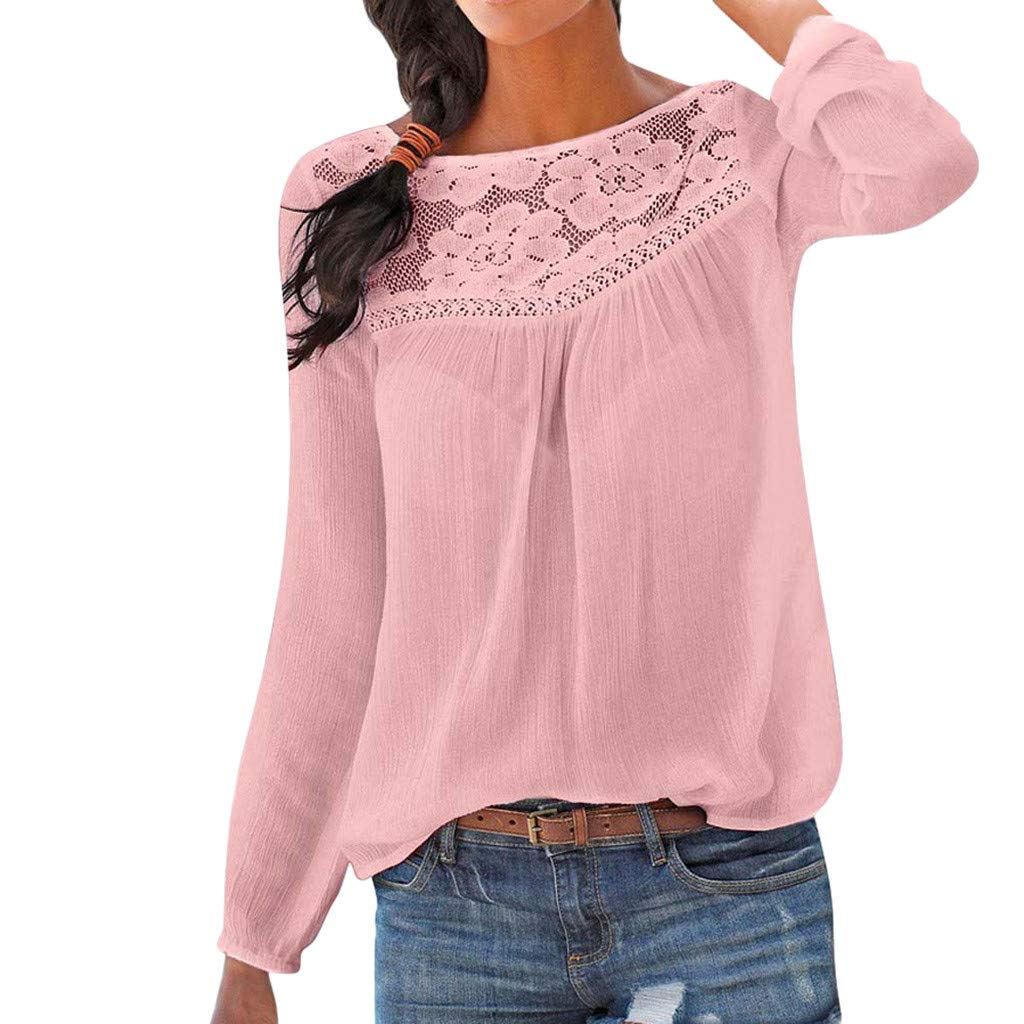 Women Tunic Blouse Long Sleeve Lace Patchwork Solid Color Print Loose Casual Tops (L, Pink)