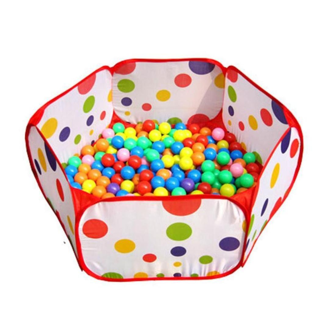 LANDFOX Pop Up Hexagon Polka Dot Children Ball PlayプールテントCarry Toteおもちゃ+ 50 Balls   B01KJGME9O