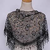 Maonet Clearance Lace Tassel Sheer Burnt-out Floral Print Triangle Mantilla Scarf Shawl Neck Wrap