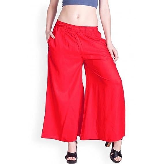 e01e77914c5e70 Lux Lyra Plain Palazzo For Women's(Red_Free Size): Amazon.in: Clothing &  Accessories