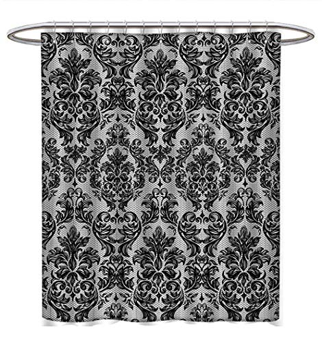 Baroque Shower Curtains with Shower Hooks Vintage Lace Style Pattern of Antique Victorian Motifs Renaissance Influences Satin Fabric Bathroom Washable W72 x L72 Black and ()