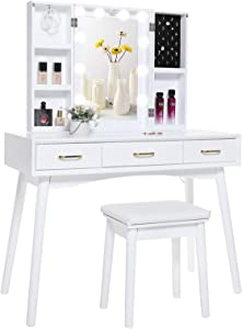 Iwell Large Vanity Table Set with 10 Lighted Mirror, 5 Storage Shelves, 3 Drawers, Makeup Vanity Dressing Table with Cushioned Stool for Bedroom, Gift for Women, Girl, White