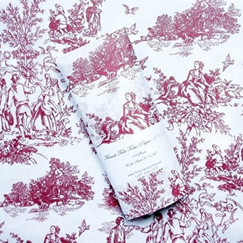 Gift Wrap Tissue - Romantic French Toile Design - Burgundy on off-white tissue (10 (Toile Wrapping Paper)