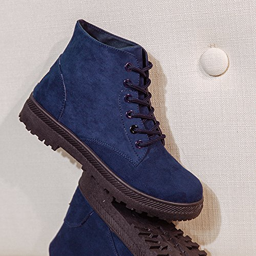 NOT100 Suede Popular up Faux Shoes Thin Boot 5US Womens Lace Blue7 Fashion Spring Walking Snazzy rxXCrq