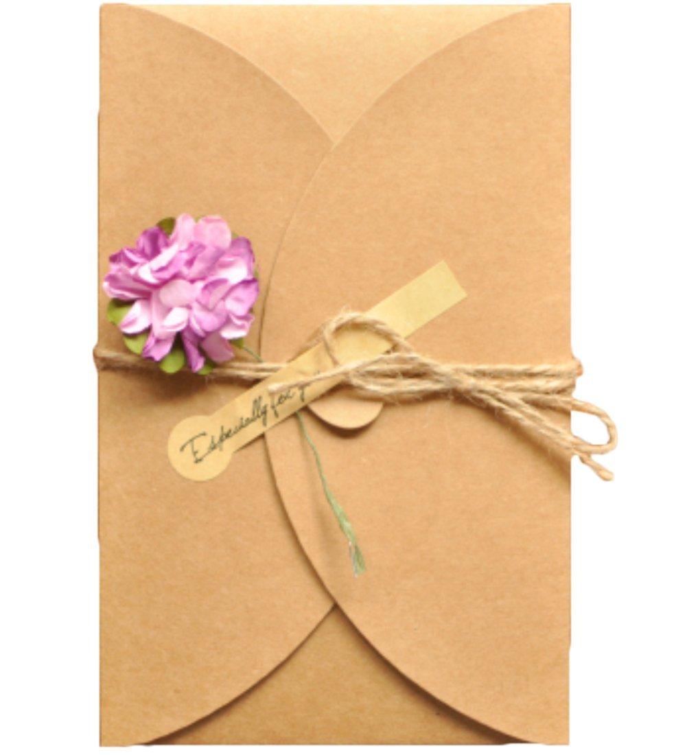 Monbedos 5pezzi biglietti d' auguri fatti a mano retro Kraft Envelope Flower cartolina, regalo ideale per la festa della mamma o per San Valentino, matrimonio inviti, Carta, Blue Daisy-l, 6.89*4.33 inch(175*110 mm)